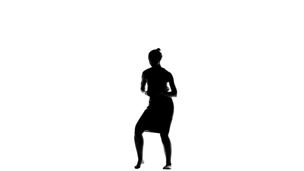 Beautiful, lady enjoy moving dancing social latin dance, slow motion, silhouette