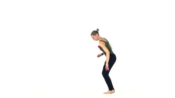 Beautiful, lady continue dancing social latin dance, slow motion