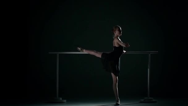 ballet posing ballet barre. wearing an apricot tutu. slow motion