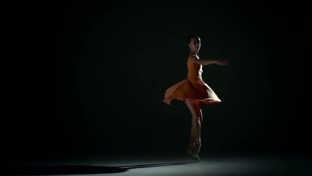 little cute girl ballerina in dress large hall. slow motion