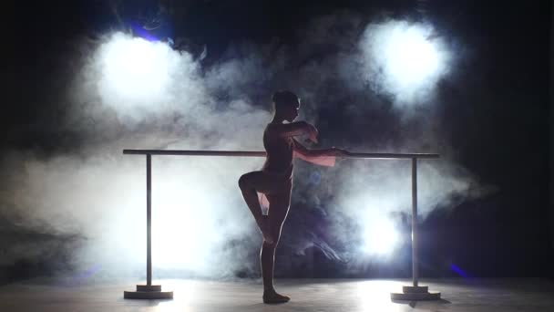 ballerina that makes stretching the legs near the barre. smoke