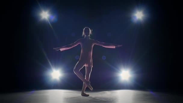 ballet dancer isolated on black background. silhouette. slow motion
