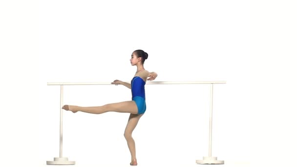 little cute girl ballerina in  large hall. slow motion
