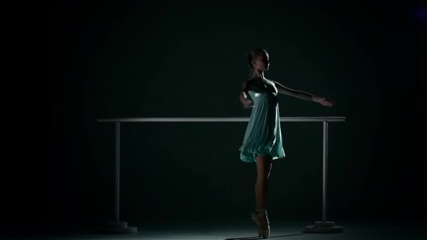 ballerina in a pretty blue dress on a dark background