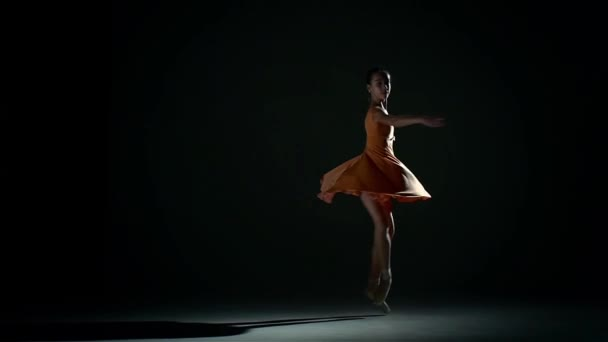 little cute girl ballerina in dress large hall. slow motion
