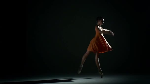 cute girl ballerina in dress large hall. slow motion