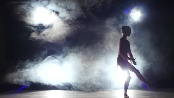 kis balerina lány táncos stúdióban, füst. Sziluett. lassított mozgás