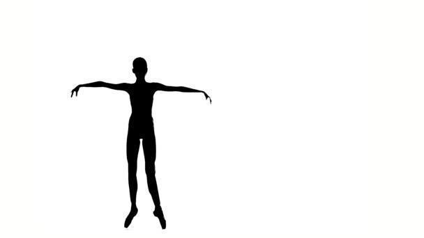kleines Ballerina-Mädchen posiert auf weißem Hintergrund. Silhouette. Zeitlupe