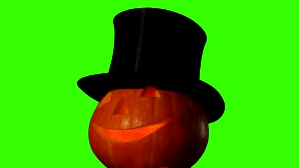 Helloween pumpkin on green screen