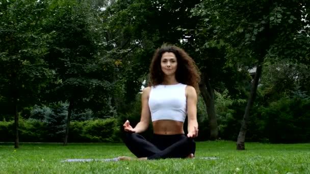 Schöne Frau praktizieren Yoga im park