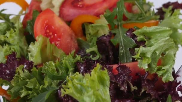 Čerstvá Míchaná zelenina, spadající do mísy salátu izolovaných na bílém. Zpomalený pohyb.