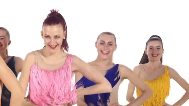 cute girls dancing smiling at the camera. slow motion. Close up. emotions