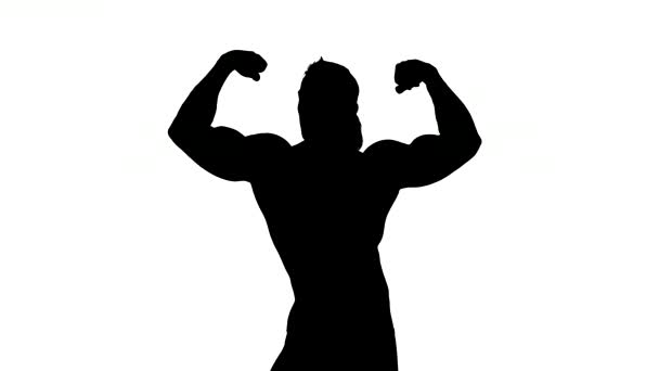 Realistic silhouettes of posing bodybuilders on white