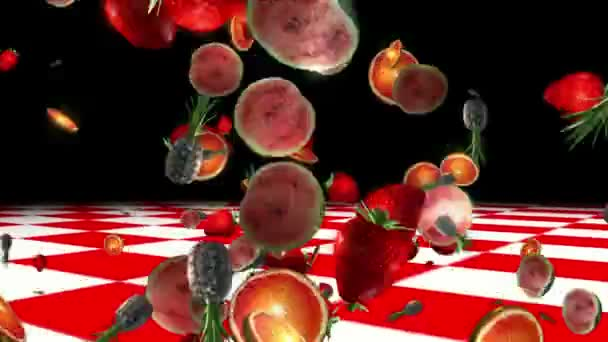 fruits on red and white background. 3D