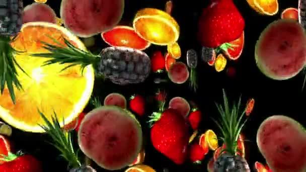 Fruits on a black background. 3D