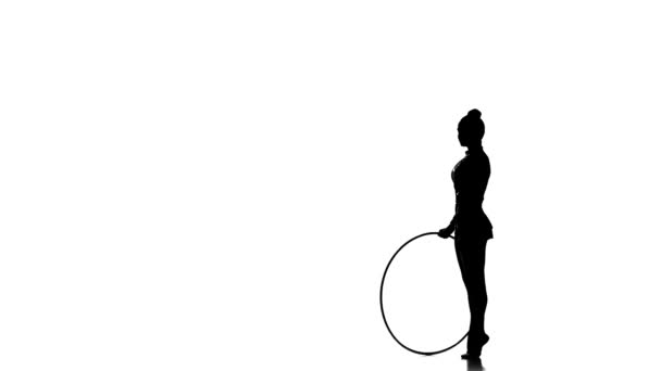 Silhouettes Rhythmic Gymnastics with hula hoop on silhouette studio