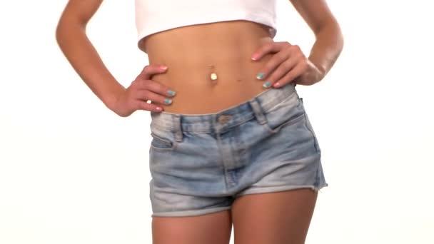 Beautiful, slender female body, waist, on white
