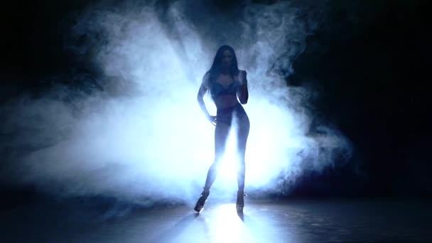 silueta krásná striptérka. Zpomalený pohyb. kouř