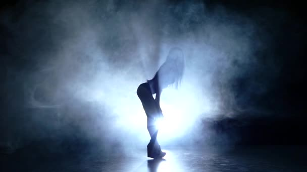 beautiful striptease dancer posing in studio background. Slow motion. smoke