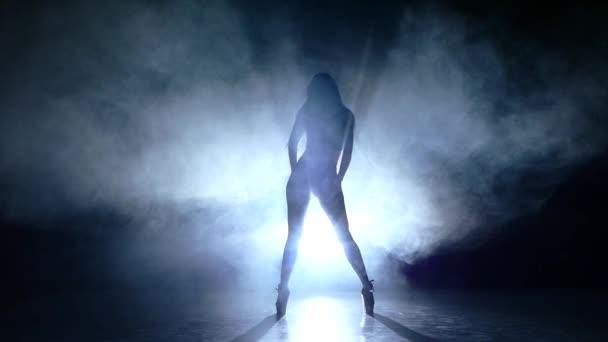 sztriptíz táncos pózol a stúdió háttere. Lassú mozgás, füst