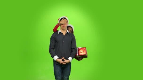 Vánoční dovolená manželům, krabičky přítomen. zelená obrazovka