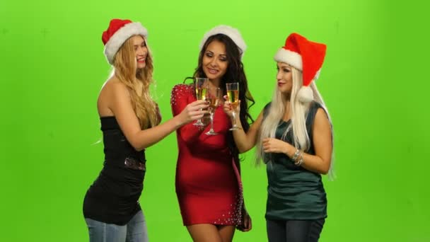 Glamour. elegance ženy slaví Nový rok, zelená obrazovka