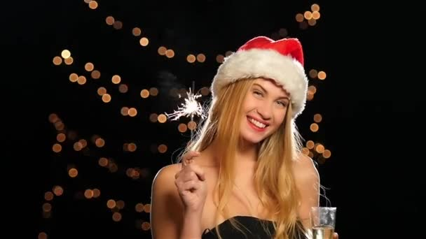 hot blonde with traditional new year bengal light. Slow motion. Close up