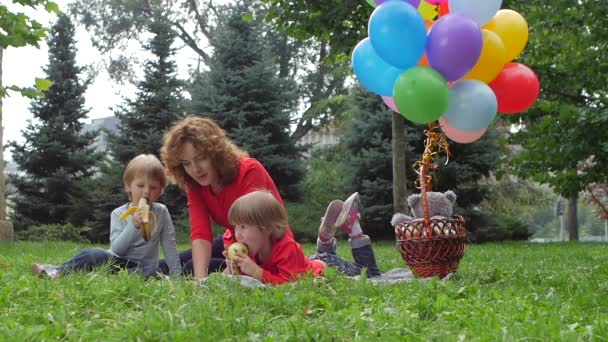beautiful Family having picnic in summer park, Slow motion