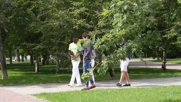 Skupina studentů venku studovat, chůzi a tvářili se šťastně. Zpomalený pohyb