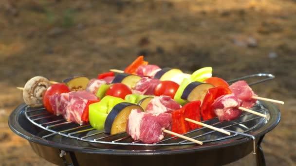 Míchané maso z kuřecího, vepřového a různého zeleninové zeleniny na grilování