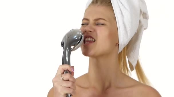 sexy woman singing under shower. Close up, slow motion
