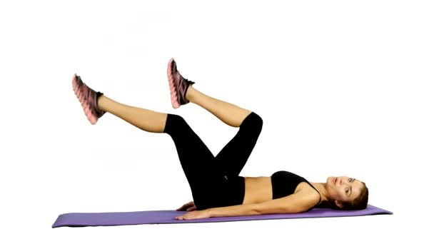 fitness Woman doing strength exercises for abdominal muscles, Gym. white background