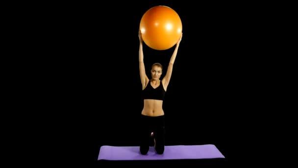 Fitness girl doing fitness exercise, fitness-ball, Gym, alpha channel, matte