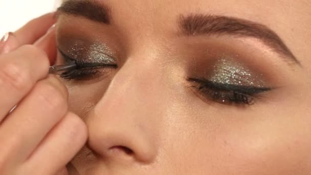 Perfect makeup. Beauty fashion. Eyelashes. Cosmetic Eyeshadow. close up