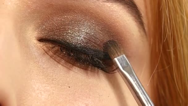 Beauty fashion. Eyelashes. Cosmetic Eyeshadow. close up