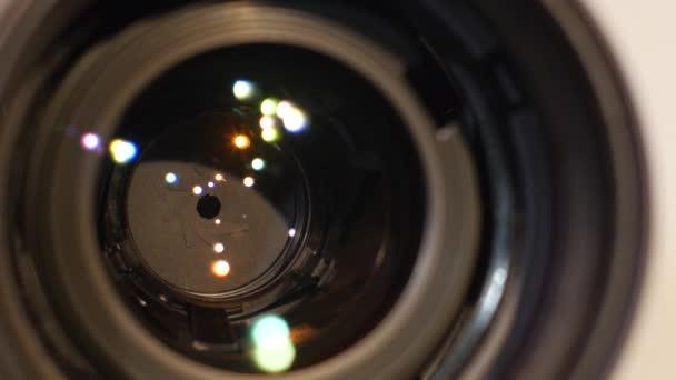 Diaphragm of a camera lens aperture, close up, open, macro