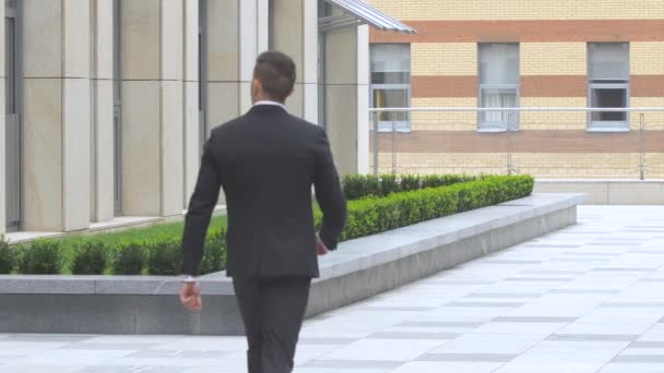 back view of walking businessman on the road over beautiful landscape, enters the building