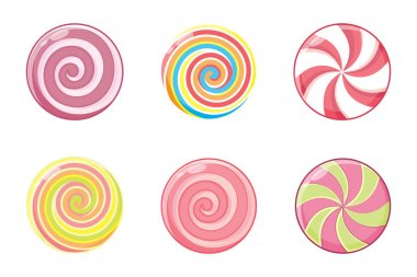 Christmas round candy set. Mint striped sweets without wrapper. Vector illustration isolated on white background. icon