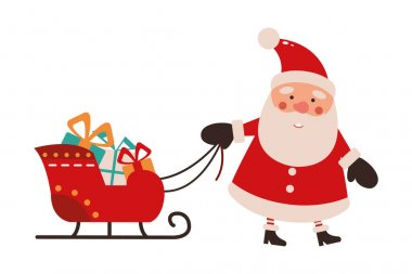 Vector illustration of cute Santa Claus mascot or character isolated on white background. Flat style. icon