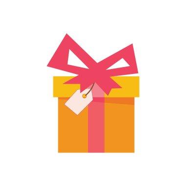 Flat present box concept, gift. Vector illustration. icon
