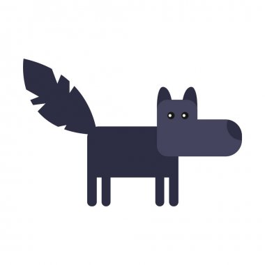 Wolf cute doodle hand drawn flat vector illustration. Icon. Simple style for kids. icon