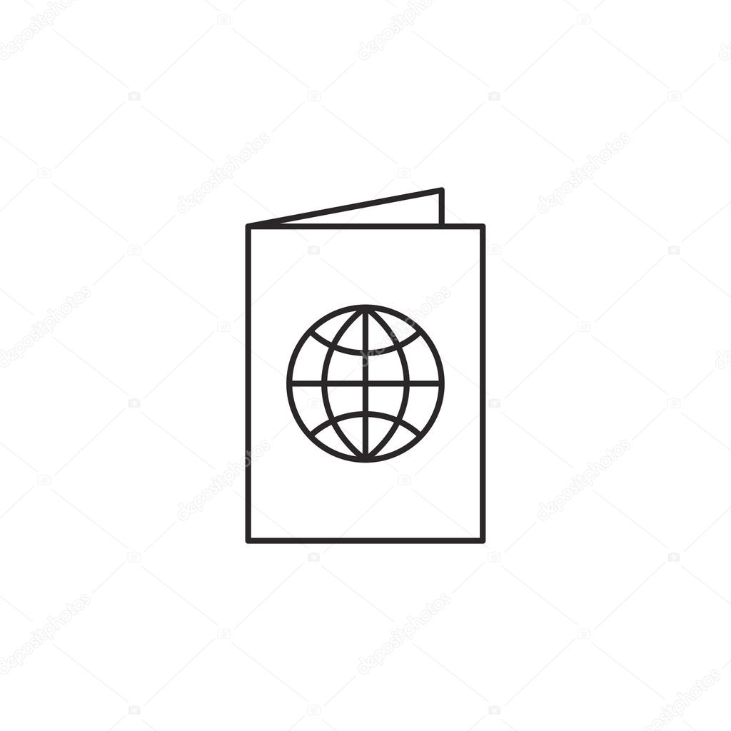Outline passport icon isolated on white background