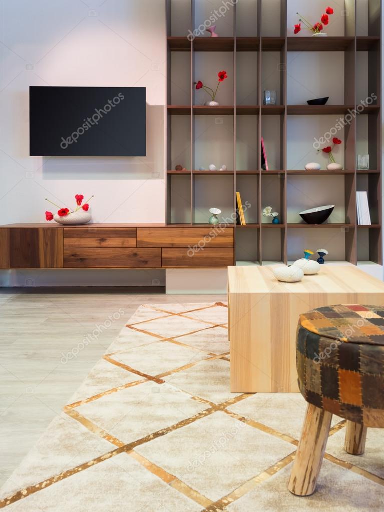 Moderne Holz Wohnzimmer Möbel Mit Regal Und Flat Tv An Der Wand U2014