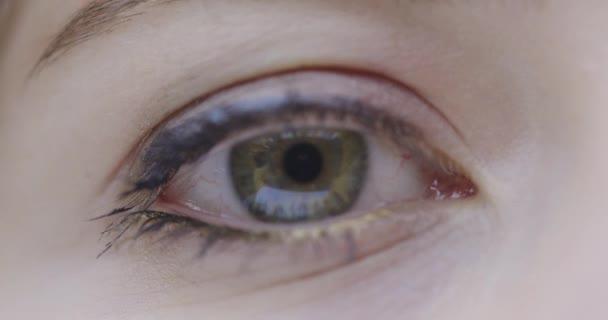 Close-up weiblichen grünen Augen Blick auf Kamera und blinkt, Augenoperation und trockene Augen-Syndrom-Konzept