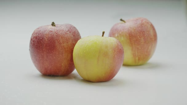 Tasty eco natural apples in water drops under drizzle rain, water pouring on heap of organic red appetizing fruits