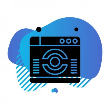 vector illustration of a blue button