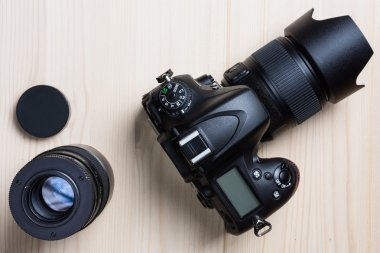 Photo camera and a lens top view