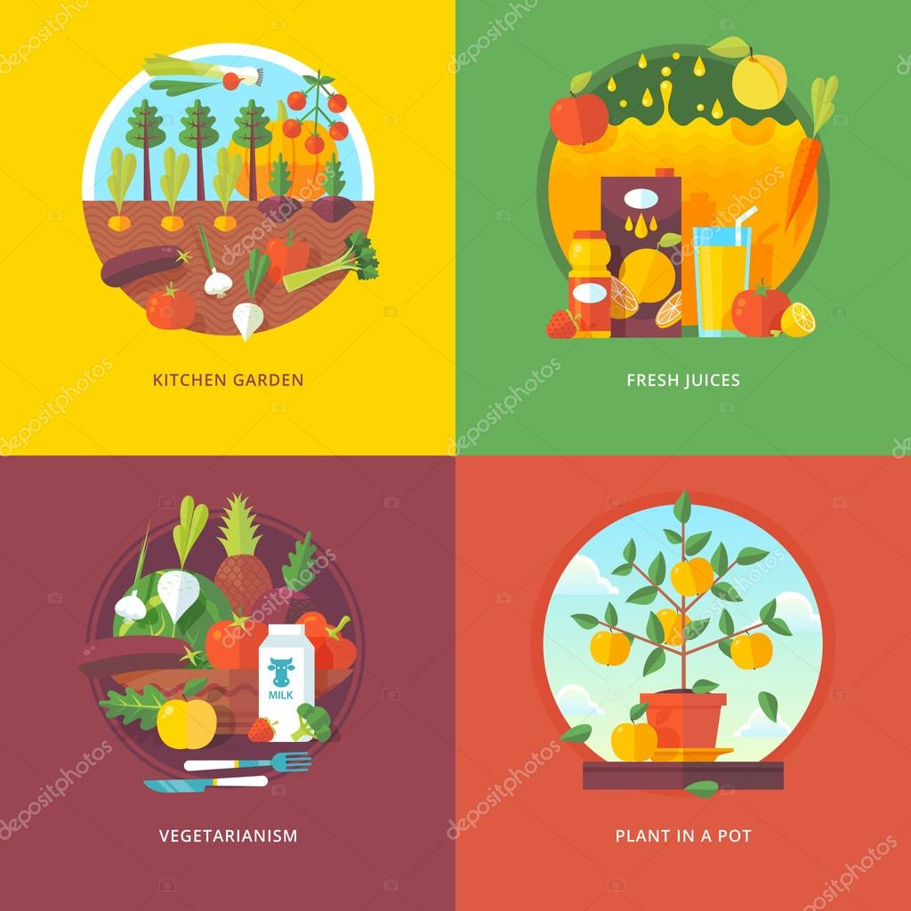 Set of flat design illustration concepts for kitchen garden, fresh juices, vegetarianism and plant in a pot. Fruit and vegetables horticulture. Concepts for web banner and promotional material.