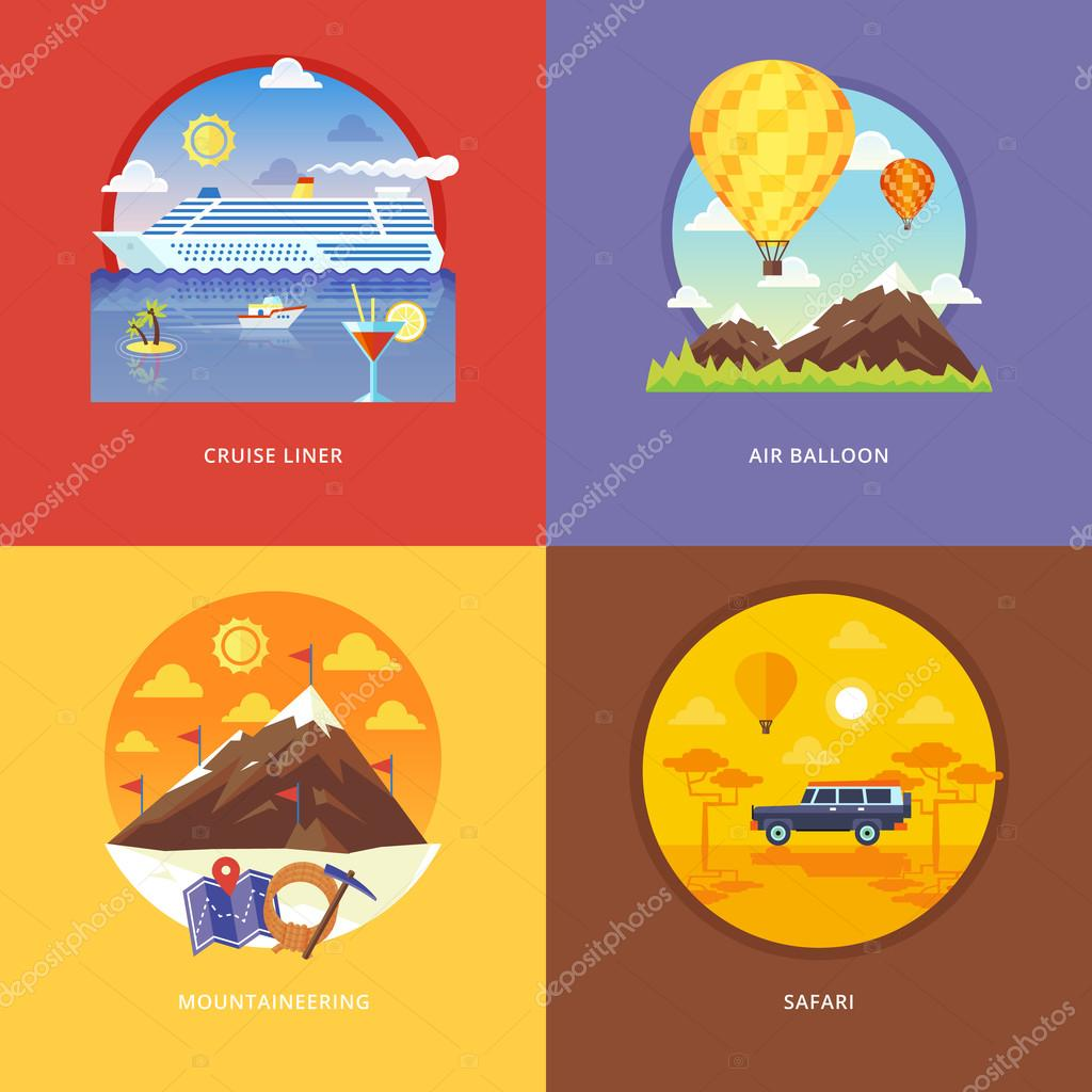 Set of flat design illustration concepts for cruise liner, air balloon, mountaineering, African safari. Recreation, holiday trip, tourism, traveling. Concepts for web banner and promotional material.