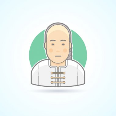 Chinese man in traditional close icon. Avatar and person illustration. Flat colored outlined style.